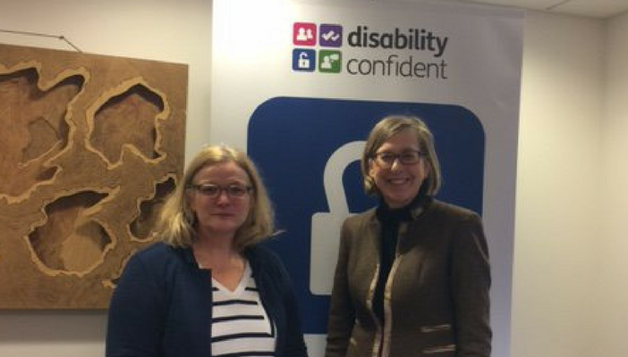 Minister for Disabled People Sarah Newton MP with RNIB CEO Sally Harvey