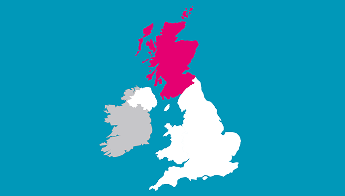 Map of the UK with Scotland in pink