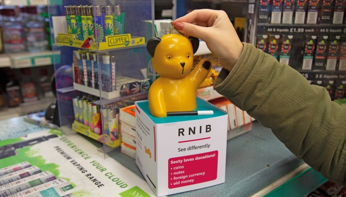 Sooty box on a newsagent counter