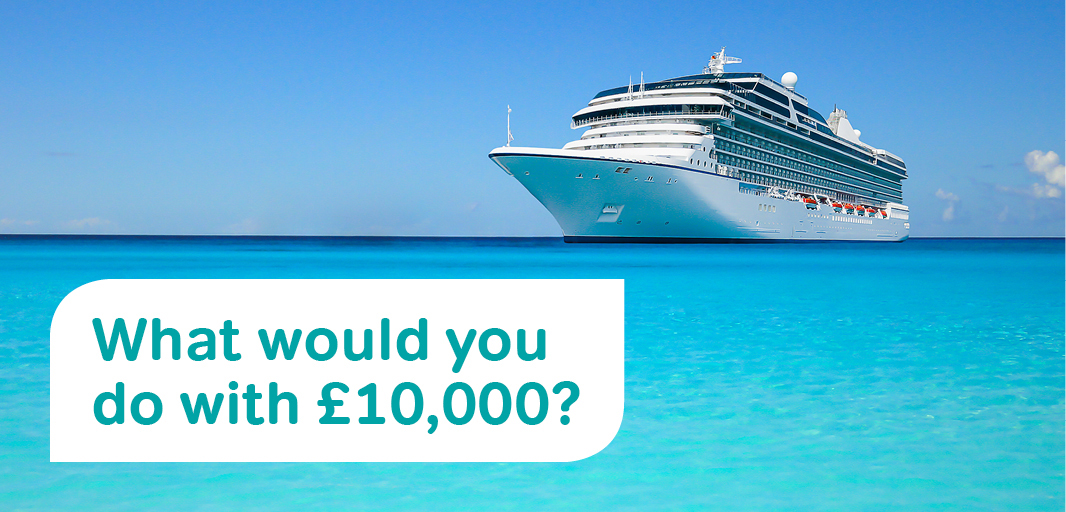 "Image of a luxury yacht in clear blue seas with text saying ""What would you do with £10,000?"""