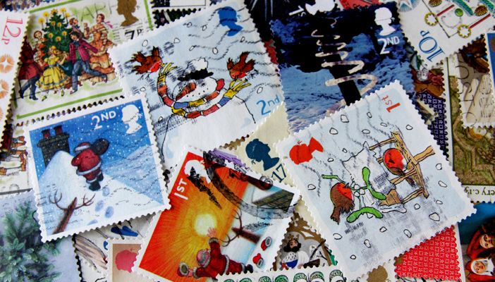A collection of Christmas stamps