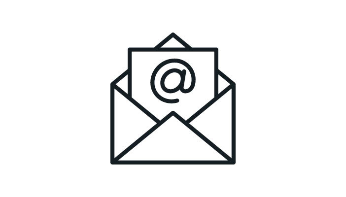 Icon of an email with an @ in the envelope