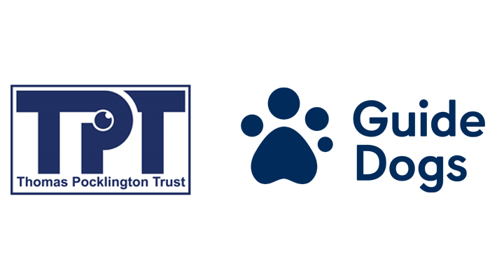 Thomas Pocklington Trust and Guide Dogs logos