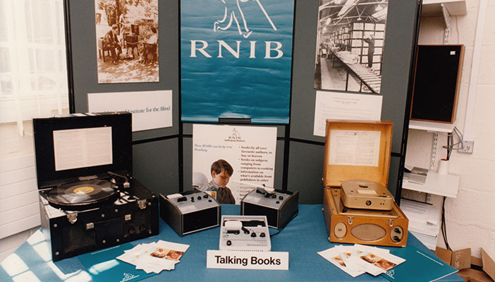 Display of old Talking Book players
