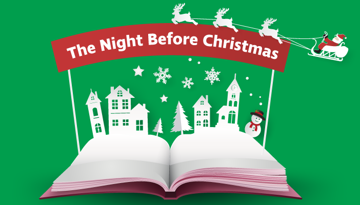 "Illustration show an open book with Christmas scene and a banner saying ""The Night Before Christmas"""