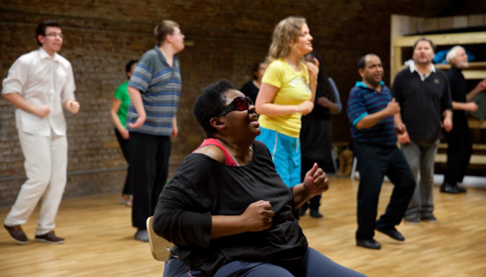 People with sight loss participating in acting class
