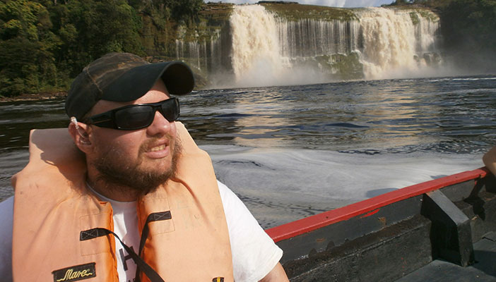 Tony Giles at the Hacha Waterfall, Venezuela