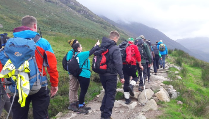 Team RNIB trek the route up Ben Nevis