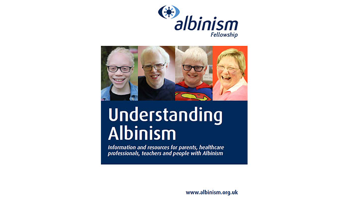 Cover image of Understanding Albinism brochure featuring people with albinism