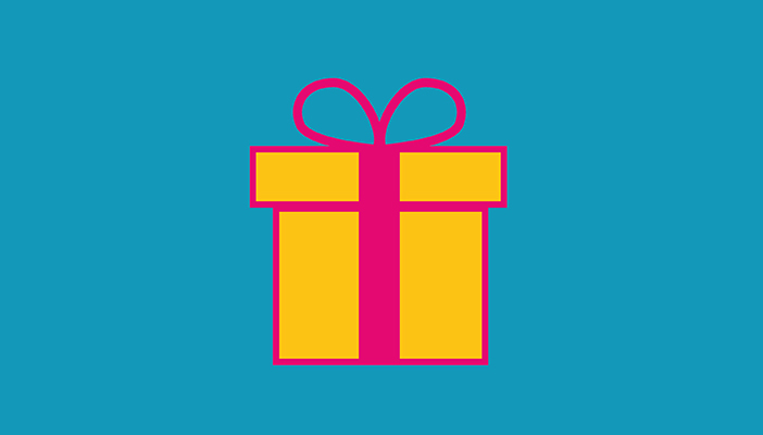 Icon of a yellow present with a pink bow on a blue background