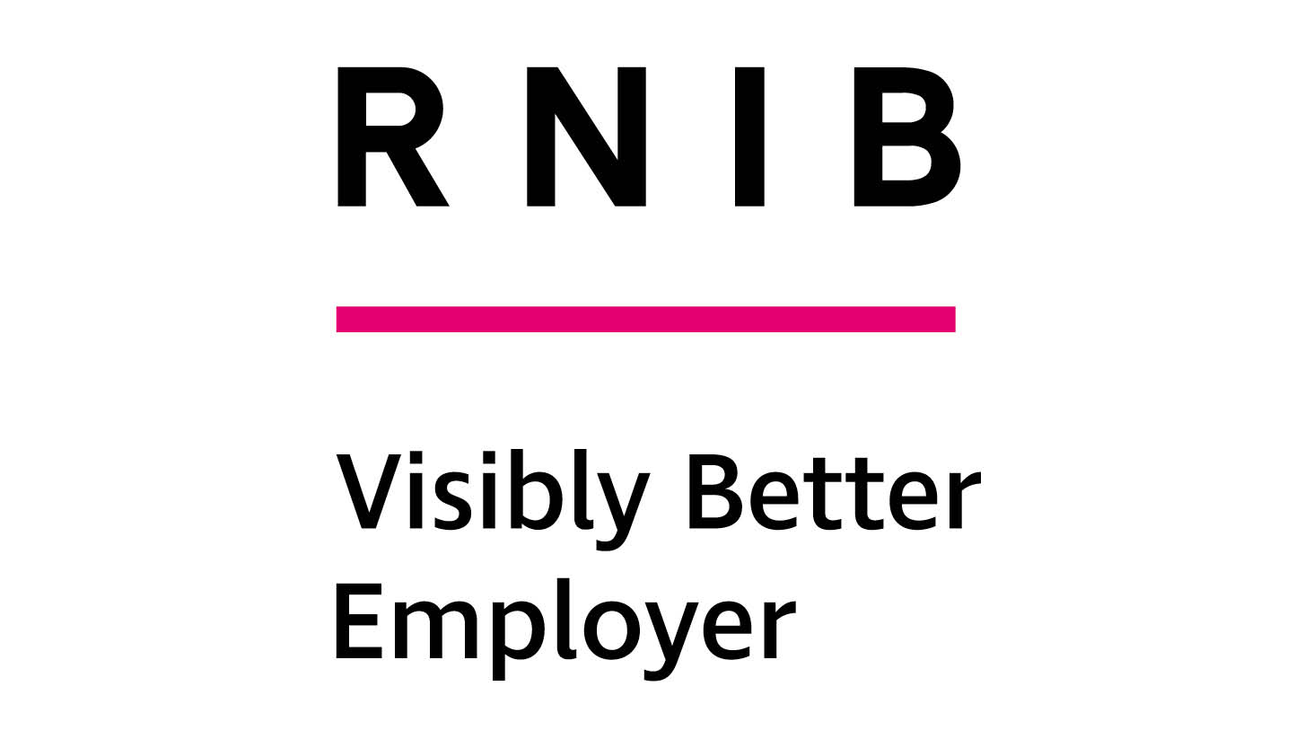 RNIB logo with words Visibly Better Employer underneath
