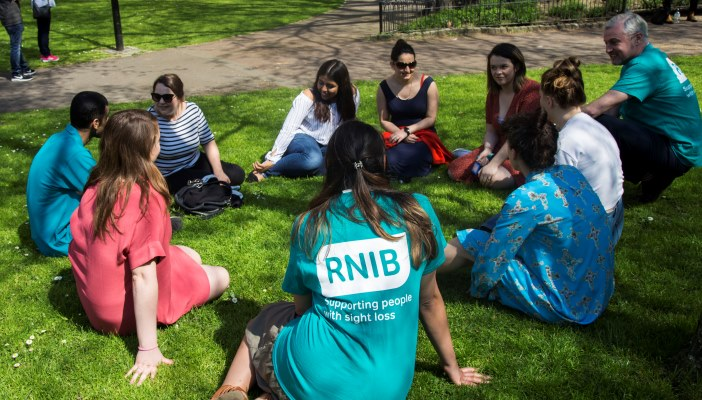 A group of people sat in a park on the grass, with some wearing RNIB branded tshirts.