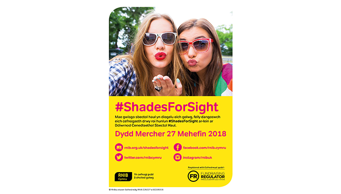 Shades for Sight A3 poster in welsh
