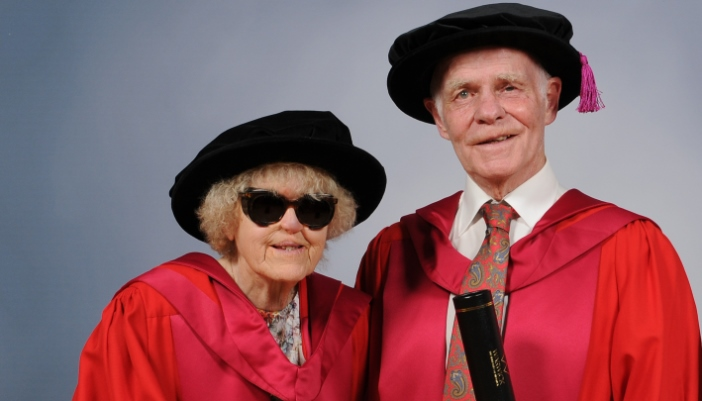 Photo of Fred and Etta with their degree