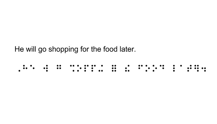 "A print sentence with the words ""He will go shopping for the food later."" and the contracted braille equivalent below it."