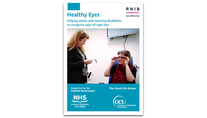 Healthy Eyes training guide cover showing an optician and her patient