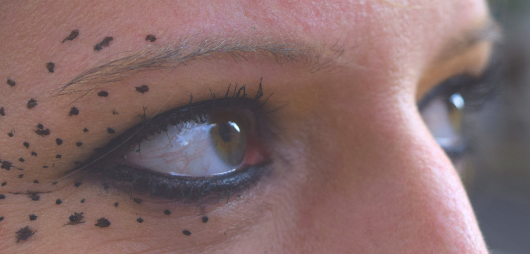 close-up-of women's-eyes-with-dotted-makeup