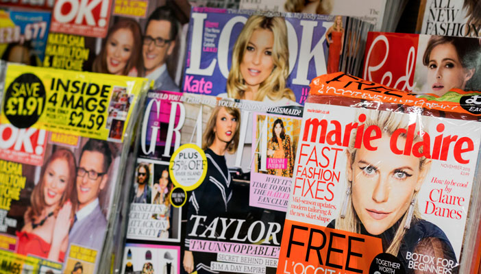 Magazine stand at newsagent