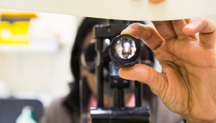 Patient's view of an eye examination