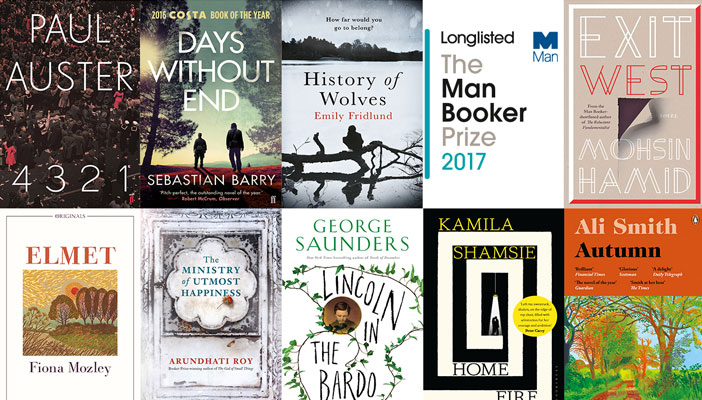 Image shows a collage of the man booker shortlist book covers