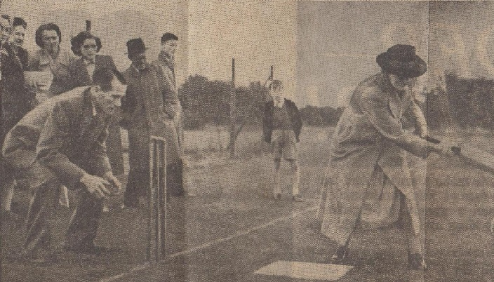 A lady hitting the cricket ball with a bat whilst a crowd looks on behind her