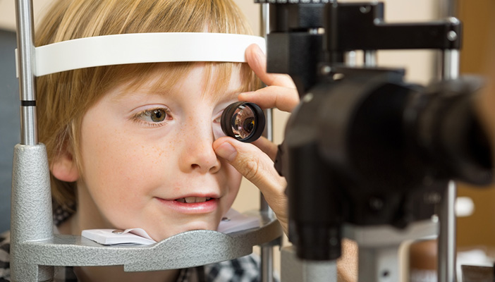 Child has eye examination