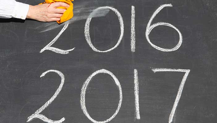 2016 and 2017 written on a school blackboard, with 2016 being erased by the teacher