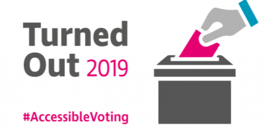 Turned Out report 2019 with a hand putting a ballot paper into a ballot box.