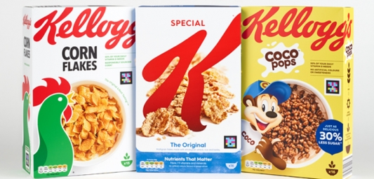Three Kellogg's cereal boxes with NaviLens codes