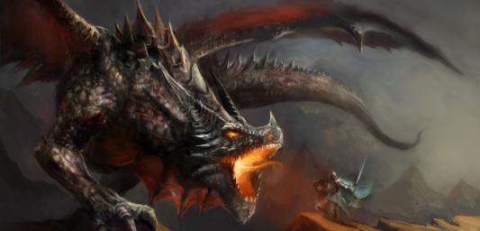 Painting of a knight in full armour fighting a huge dragon
