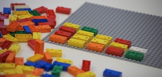 Lego Braille Bricks in a variety of colours