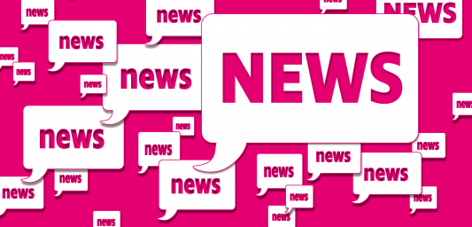 """A pink box with the word """"News"""" written multiple times enclosed in white quotation boxes."""
