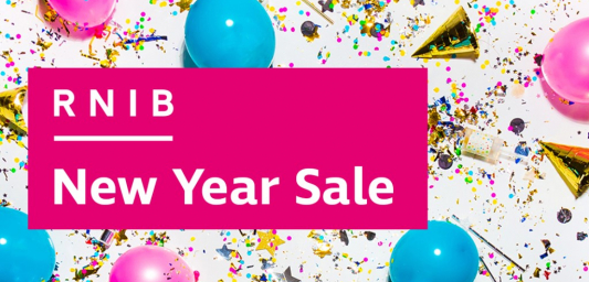 Confetti, balloons and party hats with banner over the top which says RNIB New Year Sale