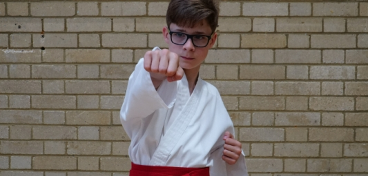 James standing in a karate position