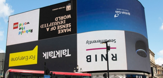 Piccadilly Lights World Upside Down campaign takeover