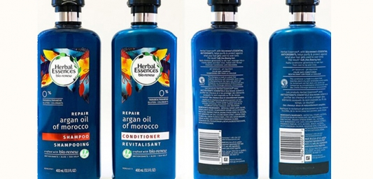 Front and back of Herbal Essences shampoo and conditioner bottles