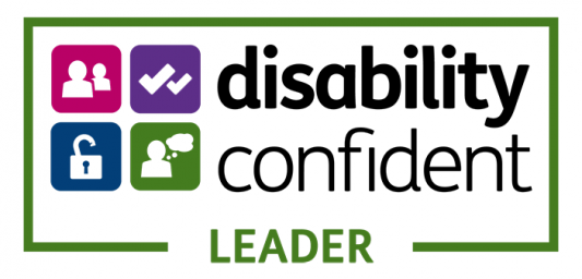 Disability Confident Leader logo, showing the words and four icons