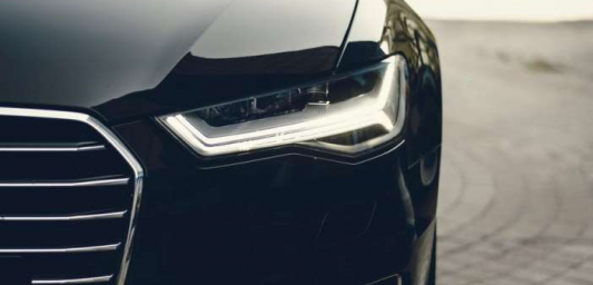 Image shows an electric car headlight