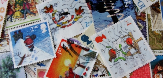 Image shows multiple Christmas themed stamps