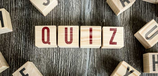 "Wooden blocks with letters spelling out ""quiz"""