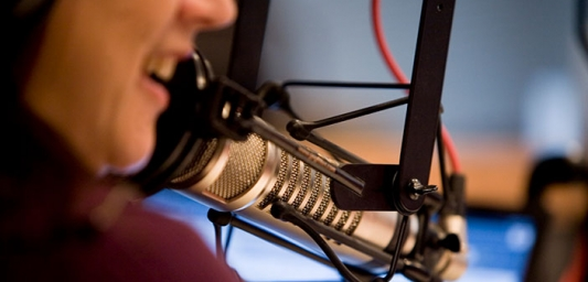 Inside a broadcasting studio. The lower half of a female presenter talking into a microphone is in focus.