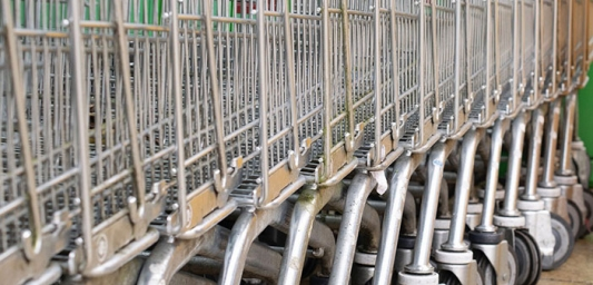 Close up of parked shopping trolleys