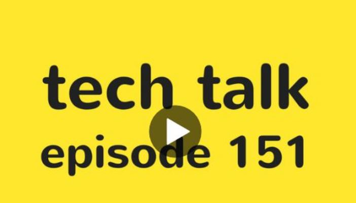 Shows the Tech Talk Podcast logo, black text on yellow